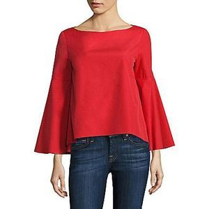 Alice and Olivia Red Blouse Shirt Bell Sleeves S